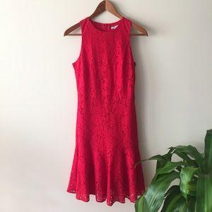 H&M Red Lace Dropwaist Dress
